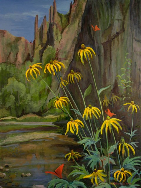 Cone Flowers Along the Gila River